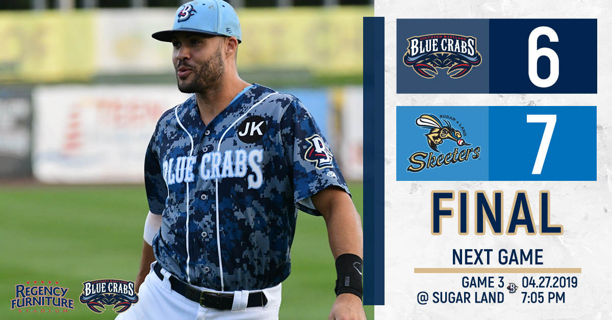 Blue Crabs Surrender a Six Run Lead in First Loss of Season