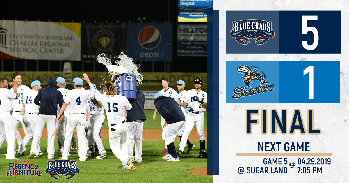 Southern Maryland Strikes Back With a 5-1 Win Over Sugar Land