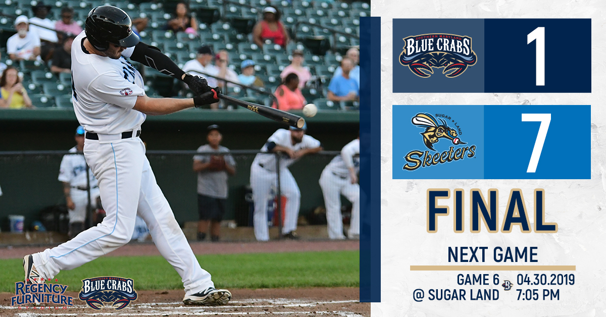 Blue Crabs Struggle To Get Bats Going in 7-1 Loss
