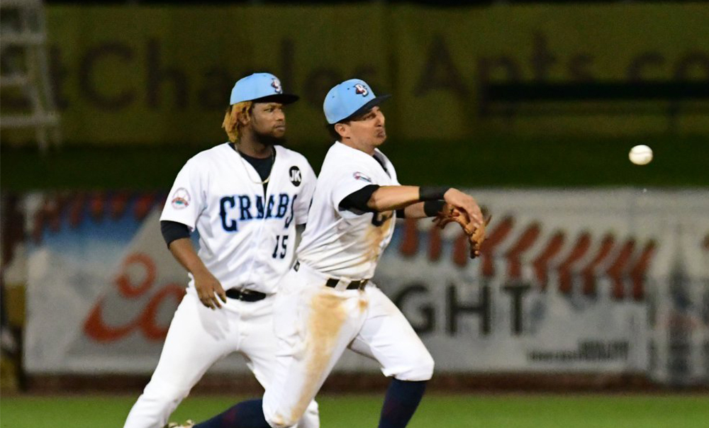 Two Homeruns Power Blue Crabs in Opener