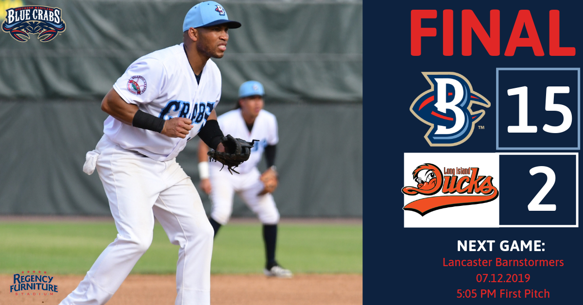 Blue Crabs End First Half With Emphatic 15-2 Victory