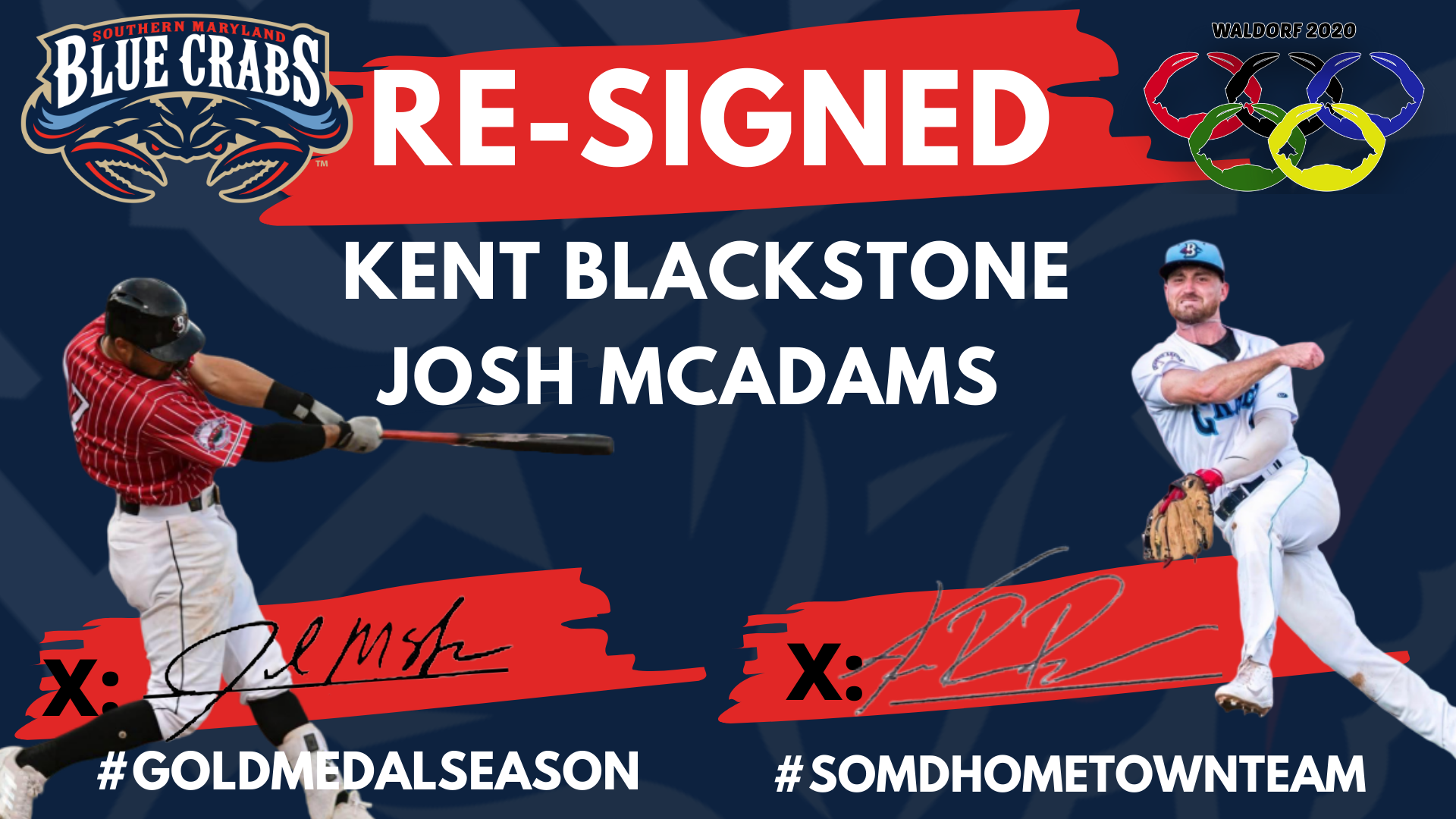 Blue Crabs Re-Sign Kent Blackstone, Josh McAdams