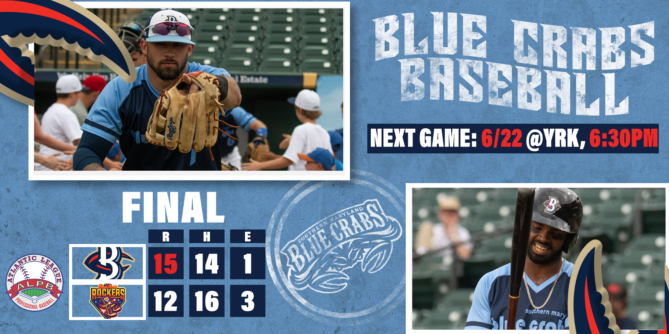 Blue Crabs Mount Late Inning Comeback, Steal Series Win