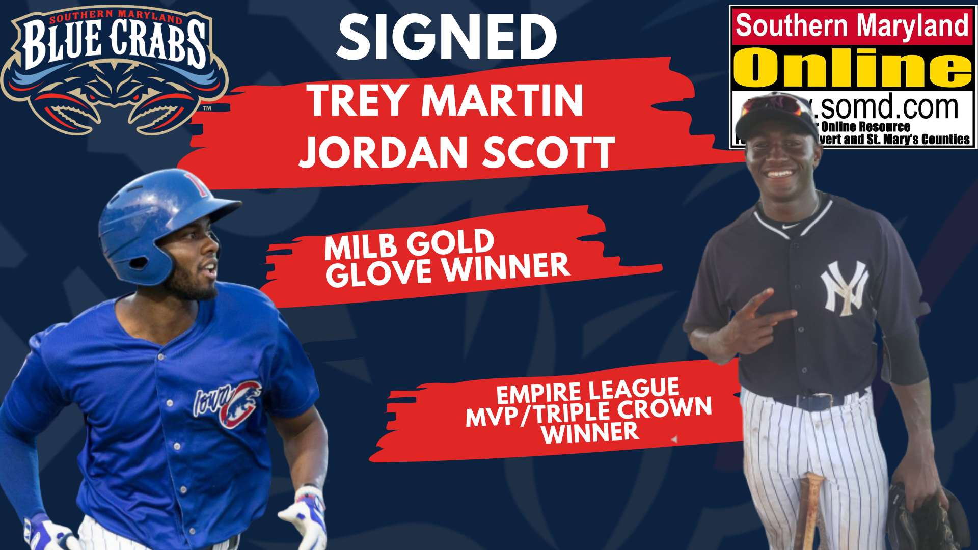 Blue Crabs Sign MiLB Gold Glove Winner, Empire League MVP