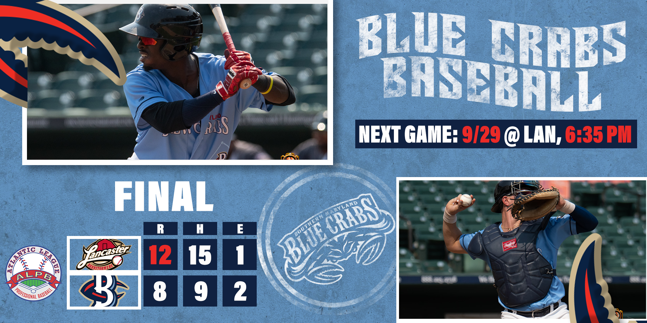 Eight Runs Not Enough For Blue Crabs in 12-8 Loss to Lancaster