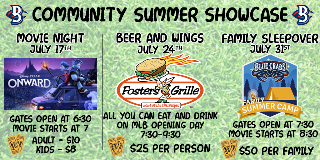 Blue Crabs Announce Disney Movie Night, an All You Can Eat Beer and Wings MLB Watch Party, Family Sleepover