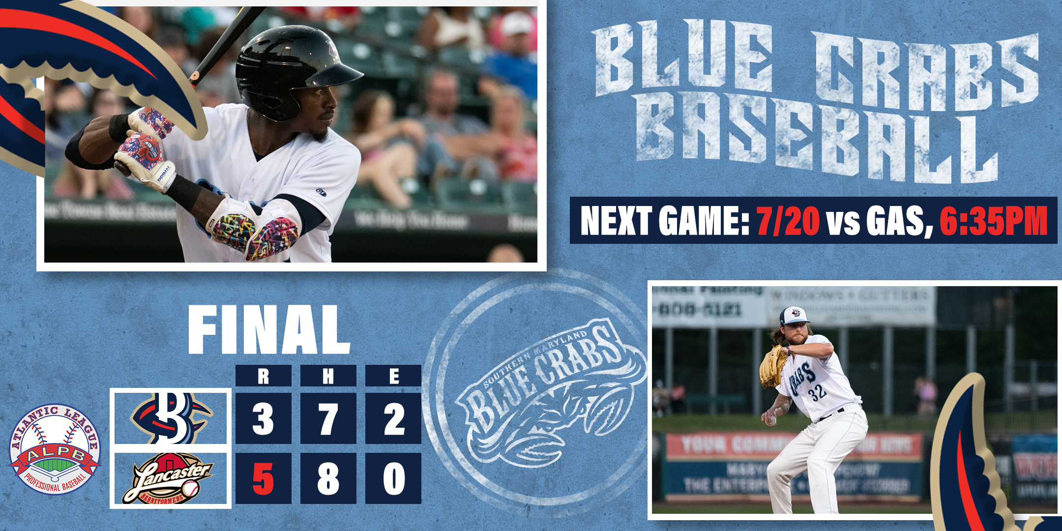 Blue Crabs Fall in Series Finale, Final Game of Road Trip