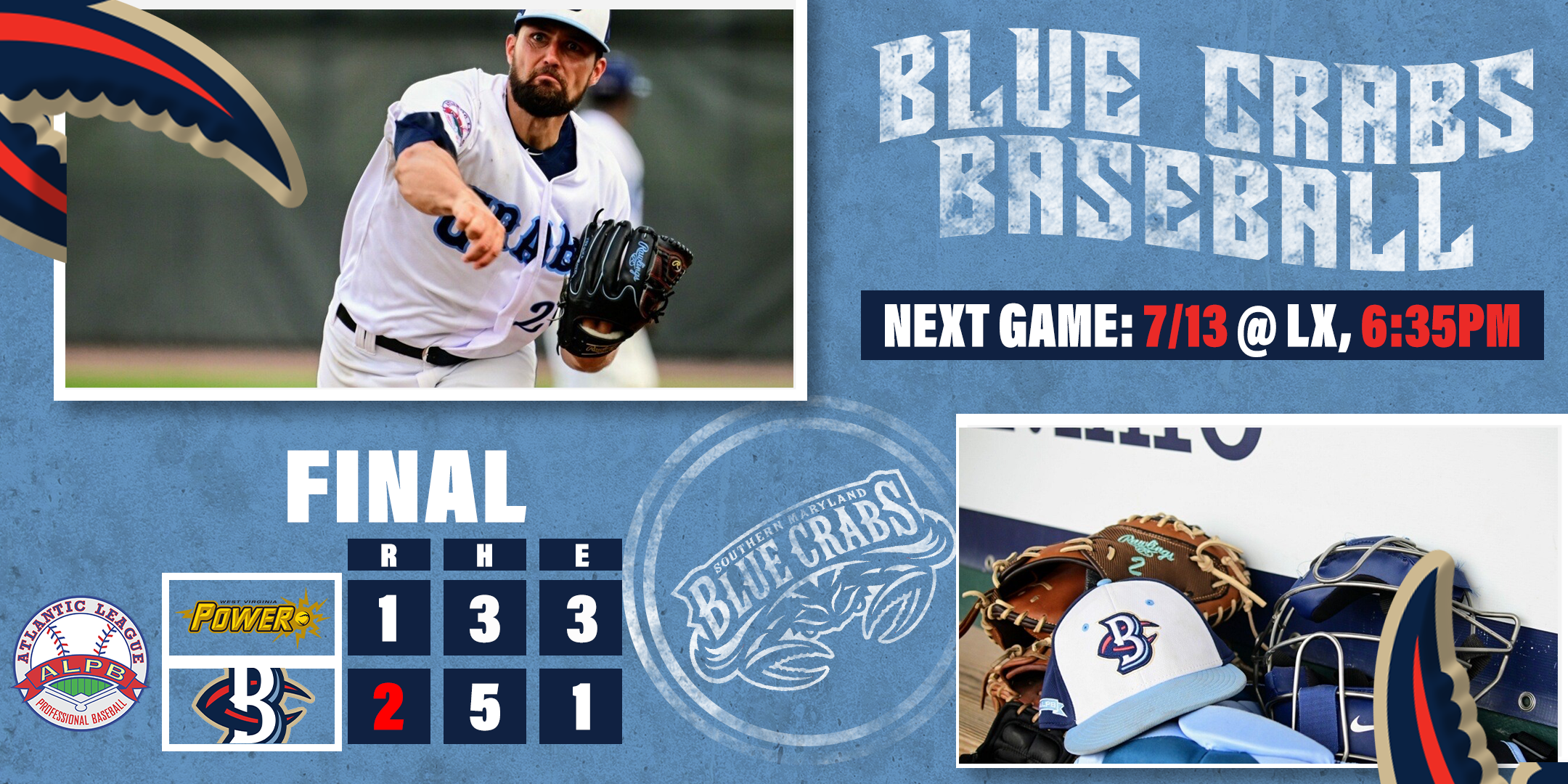 Blue Crabs Take Series Finale Over Power, Assume Sole Possession of First Place