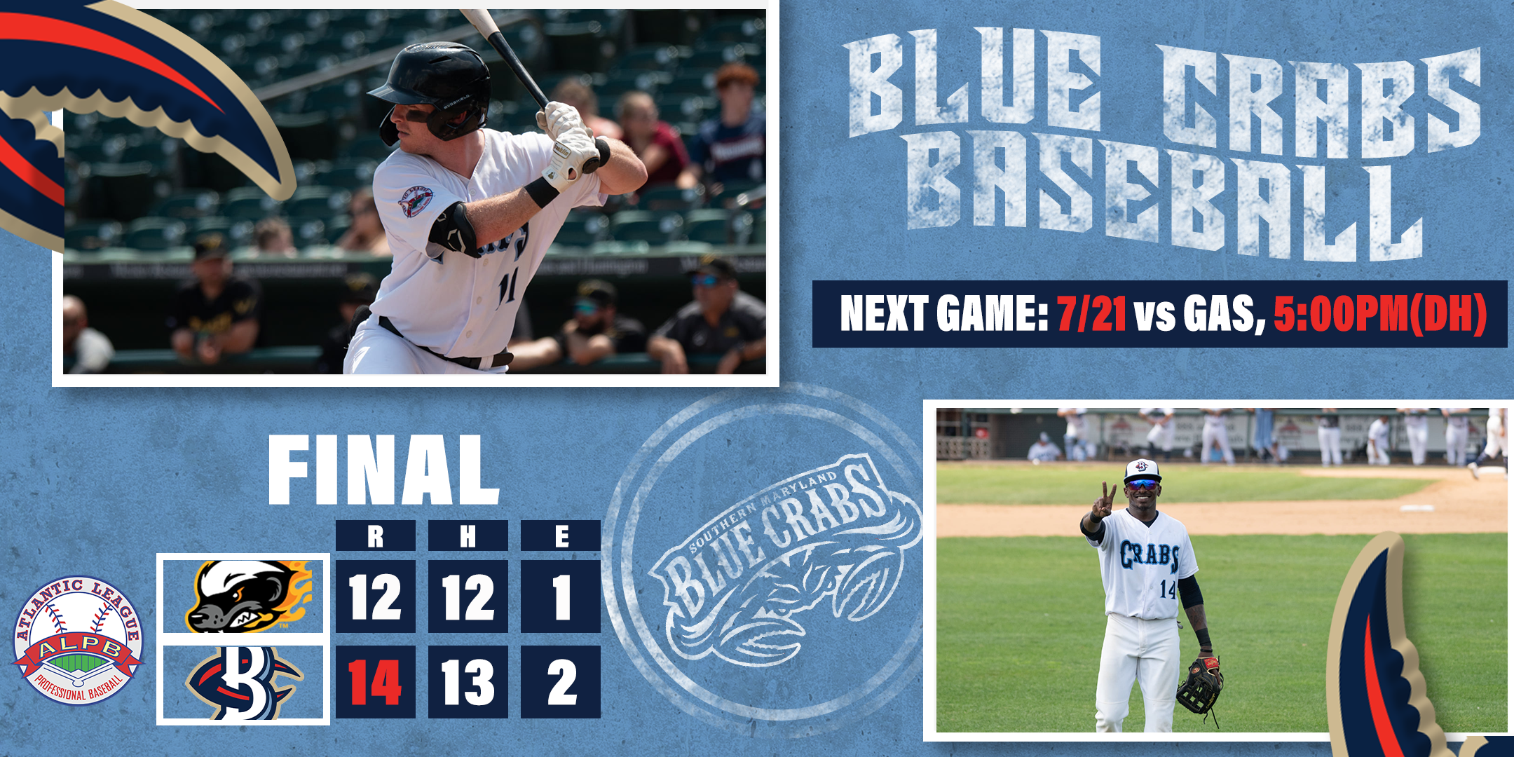 Blue Crabs Comeback From Nine Run Deficit For Series Opening Win