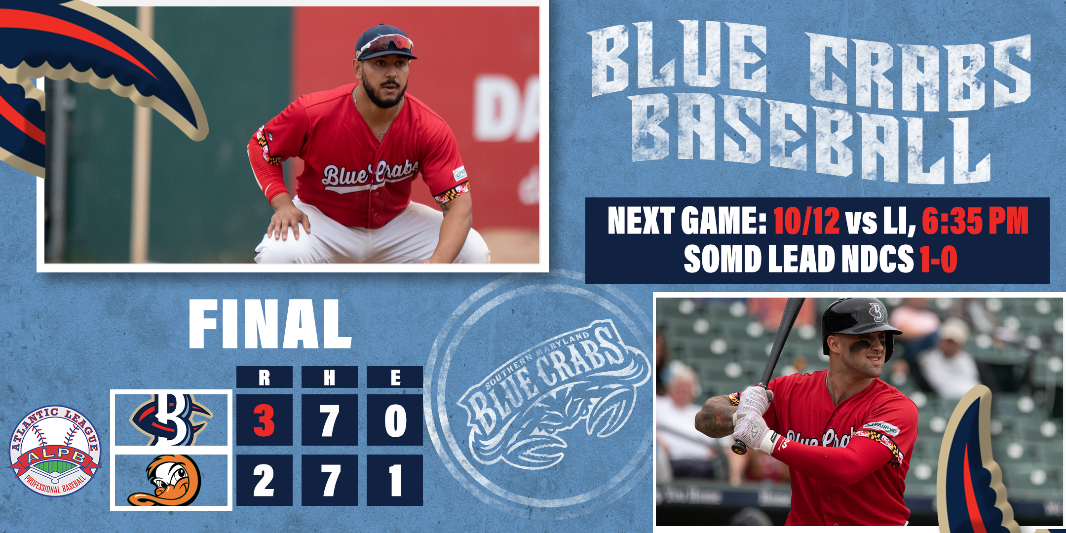 Crabs Win Playoff Opener on Long Island