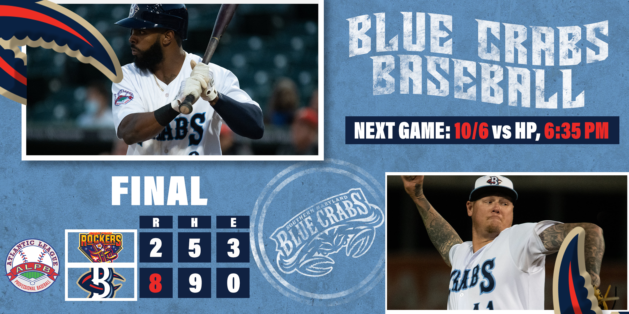 Blue Crabs Early Runs too Much for Rockers in 8-2 Win