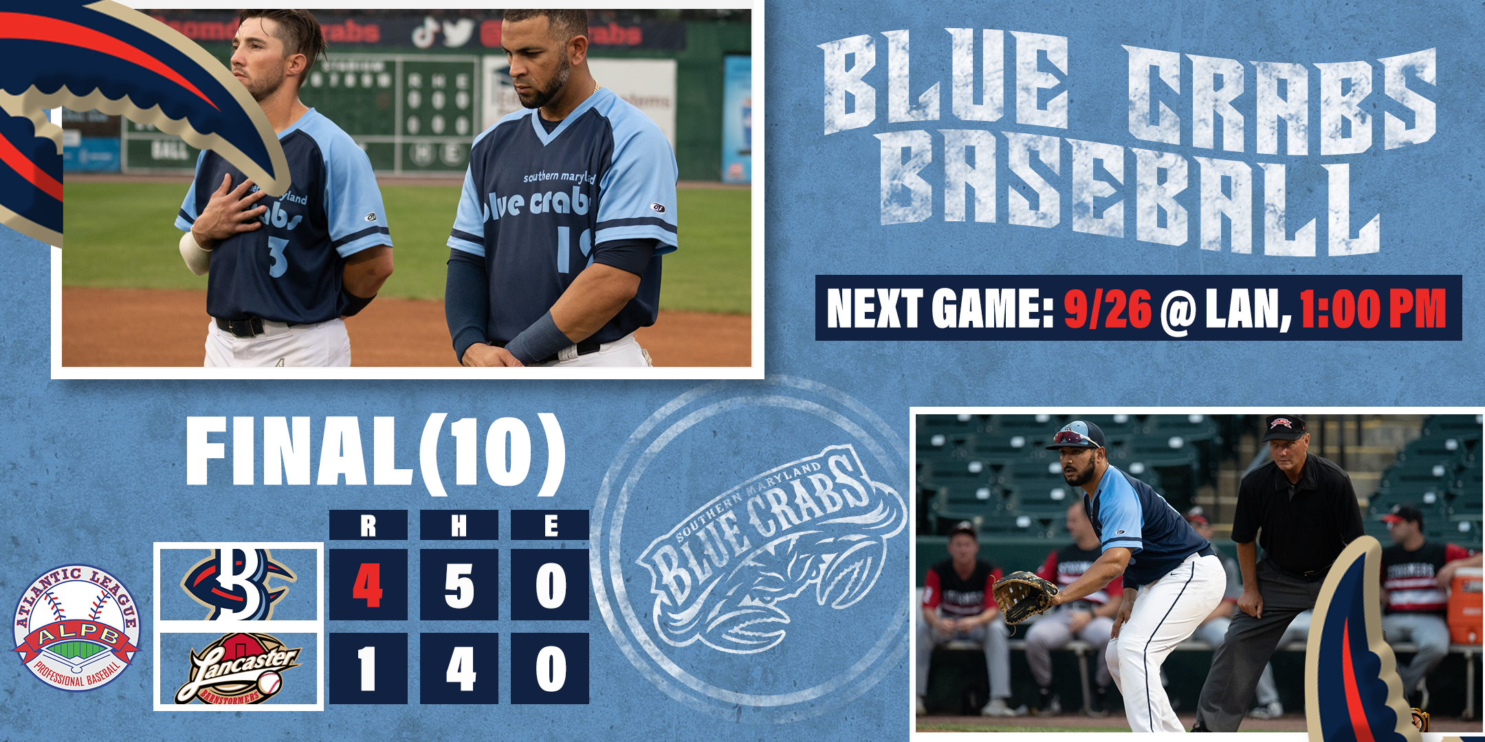 Blue Crabs Big Tenth Inning Leads to Win