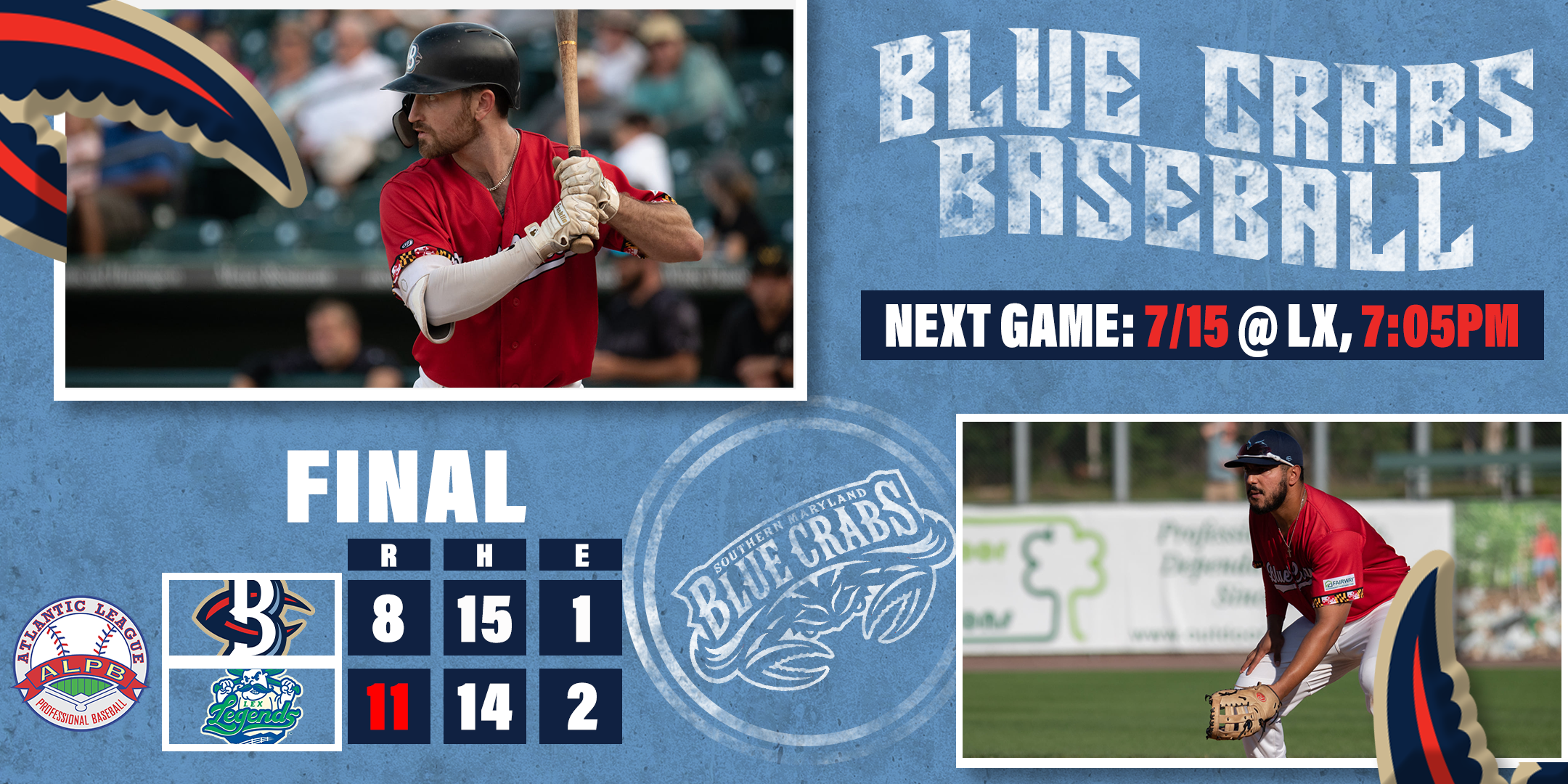Blue Crabs Lose Thriller, First Series in One Month