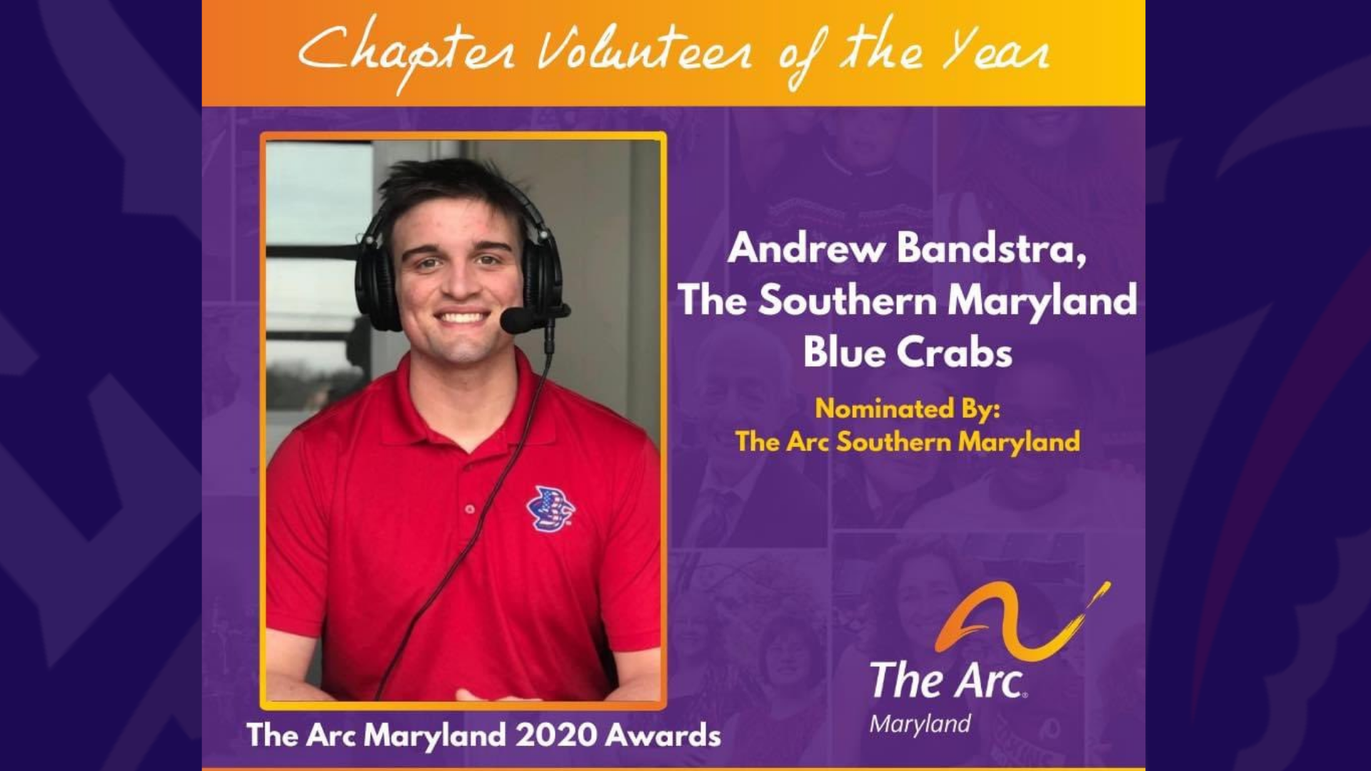 Blue Crabs Broadcaster Andrew Bandstra Named SOMD ARC Volunteer of the Year