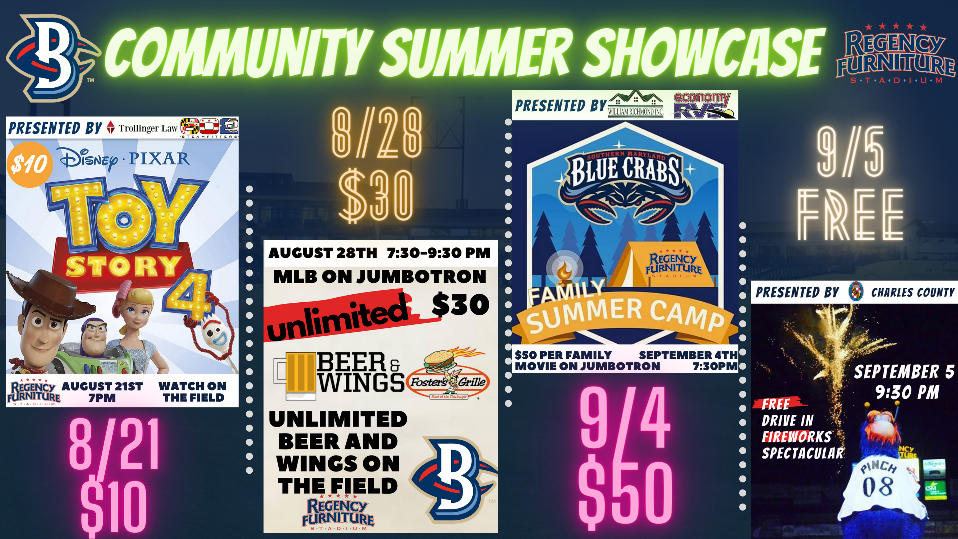 Blue Crabs Announce More Community Summer Showcase Events