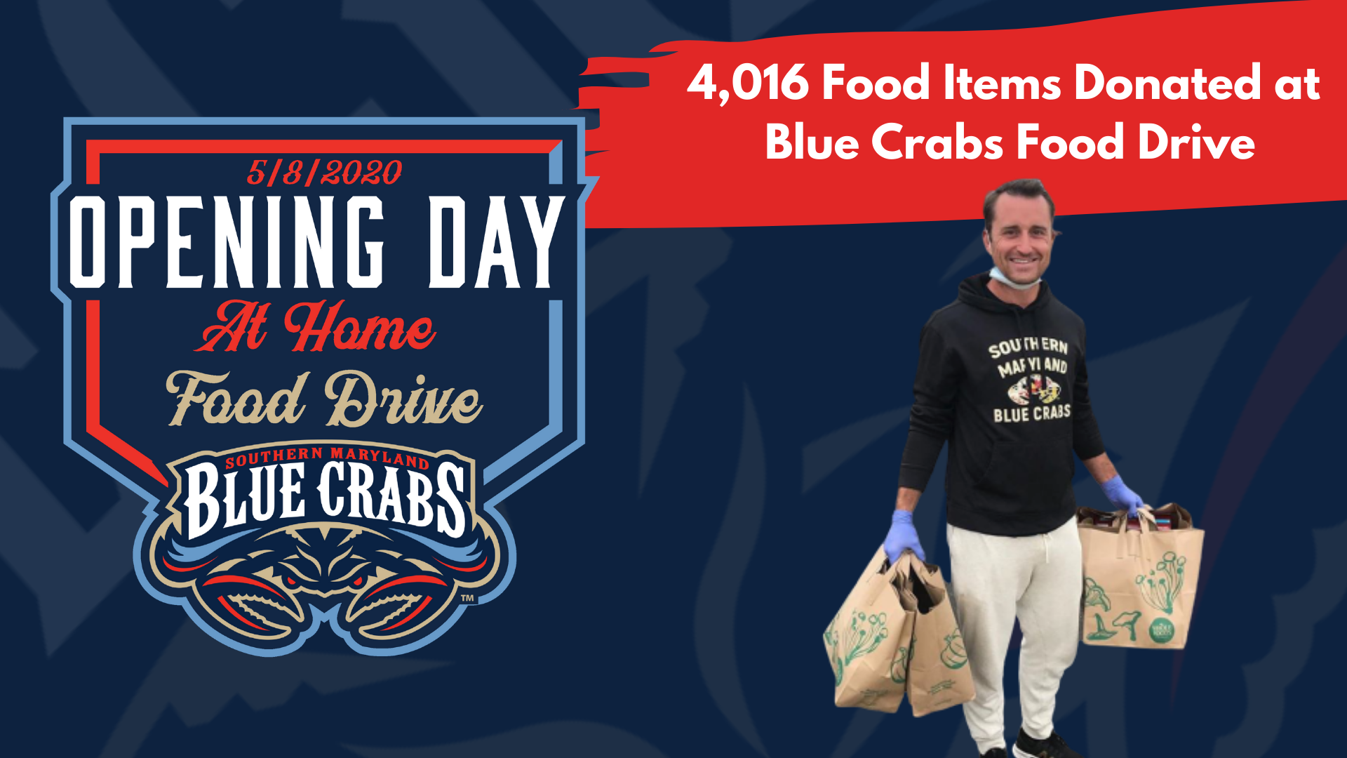 Blue Crabs Food Drive Collects 4,106 Food Items