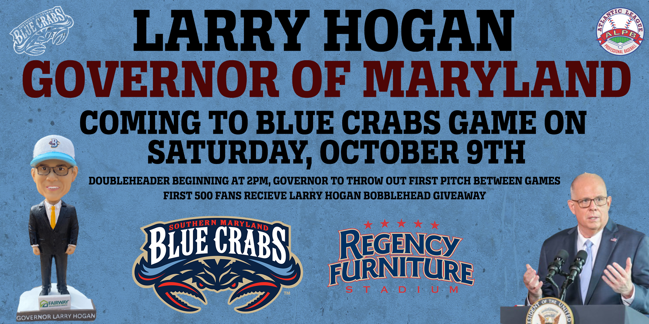 Governor Larry Hogan To Attend Blue Crabs Game