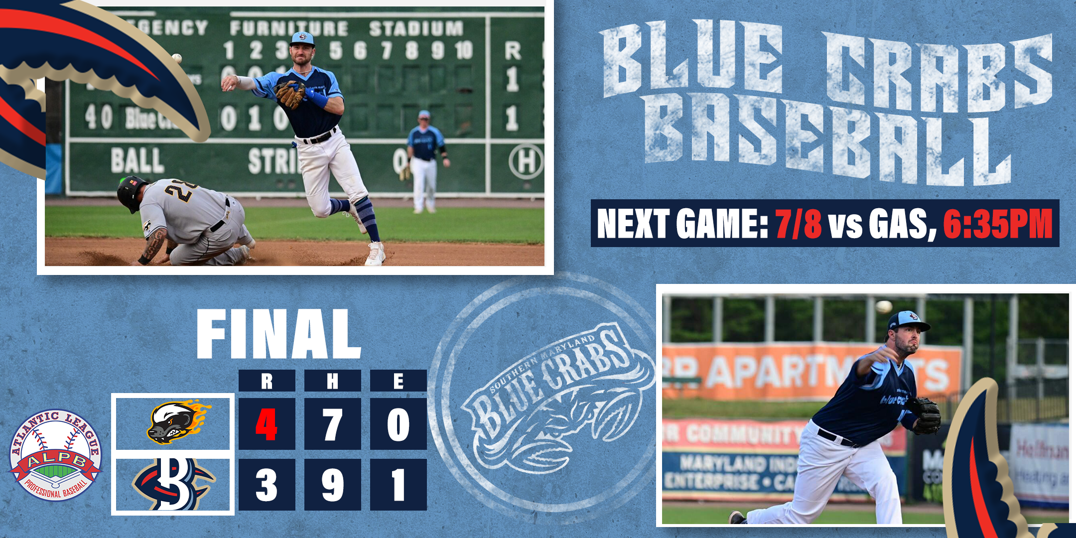 Blue Crabs Fall To Honey Hunters 4-3